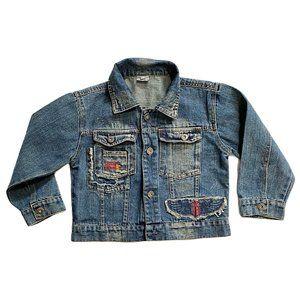 Vintage Look Patch Denim Jean Jacket